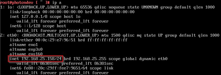 Determining the Photon OS IP address